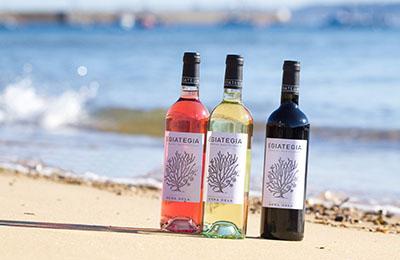3 Flaschen Wein am Strand