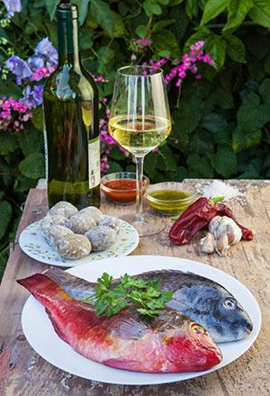 frischer Fisch und Wein