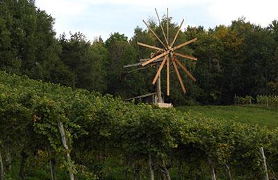 hölzernes Windrad in den Weinbergen der Steiermark