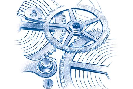 Zeichnung des Uhrwerks