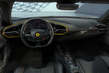 Ferrari 296 GTB Assetto Fiorani schwarz gelb cockpit