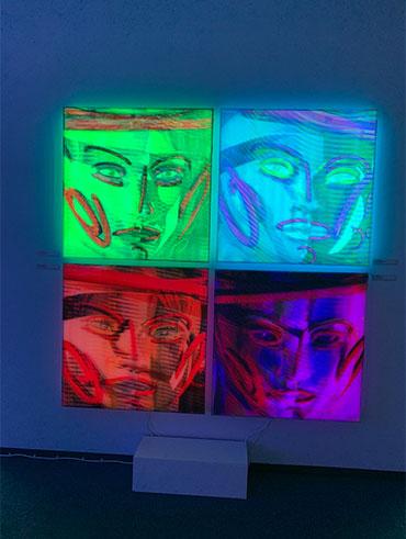 Kilian Saueressig Ausstellung kunsthalle messmer HiddenElipse in vier Farbeistellungen